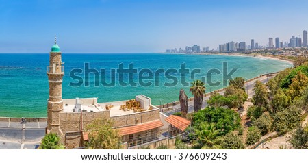 TEL AVIV, ISRAEL - JUNE 18, 2015: Morning panorama with the Al-Bahr Mosque in Jaffa with view of the beach, riviera and hotels in distant. - stock photo