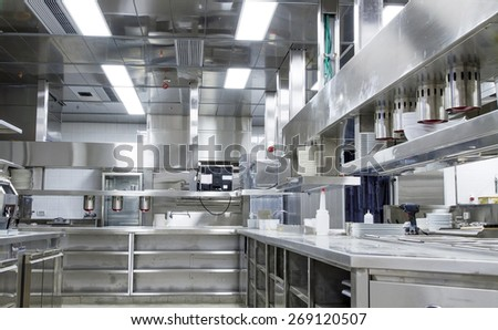 Tel-Aviv , Israel - March 2, 2015: Professional kitchen in a fast food restaurant in Tel Aviv. All the equipment is made of stainless steel. - stock photo
