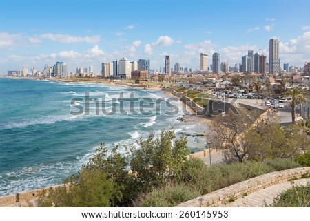 TEL AVIV, ISRAEL - MARCH 2, 2015: The outlook to waterfront and town from old Jaffa  - stock photo
