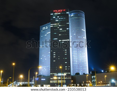Tel-Aviv , Israel - November 12 . 2014 : Beautiful night view of Azrieli mall in the center of Tel Aviv. - stock photo