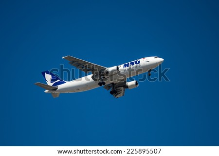 TEL AVIV, ISRAEL - OCTOBER 25: Airbus A300 MNG Airlines Jet taking off from  the Ben Gurion International Airport  on October 25, 2014  in Tel Aviv, Israel.  - stock photo