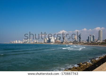 Tel Aviv skyline ,winter 2014 - stock photo