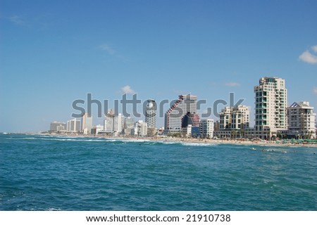 Tel-Aviv view from the sea side - stock photo