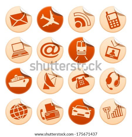 Telecom and transport stickers. Raster version of EPS image 31850026 - stock photo