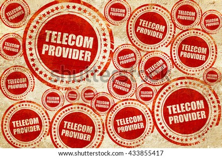 telecom provider, red stamp on a grunge paper texture - stock photo