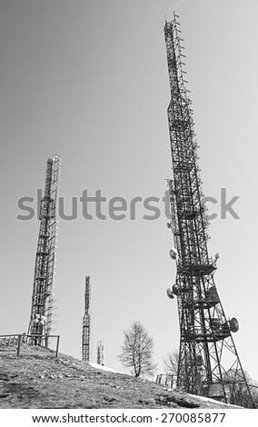 Telecommunication mast TV antennas  - stock photo