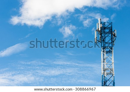Telecommunication Radio Antenna and blue Satellite Tower with blue sky / Blue Antenna and Space. - stock photo