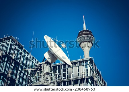 Telecommunication Satellites. TV Tower - stock photo