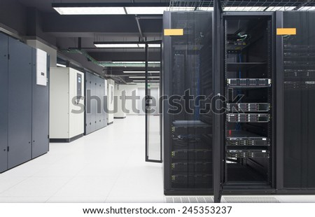 telecommunication server in data center - stock photo