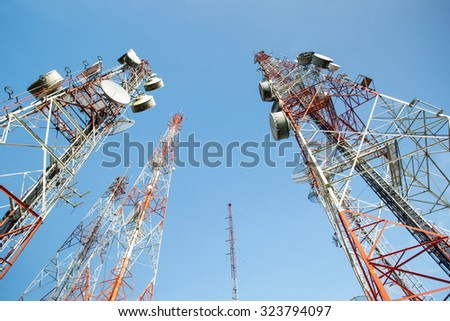 Telecommunication technology for your network connection with blue sky. - stock photo