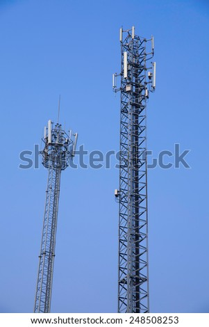 Telecommunication tower and sky blue . - stock photo