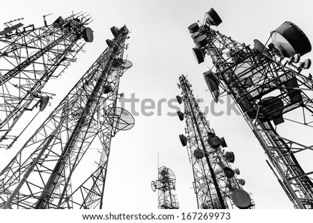 Telecommunication tower black and white - stock photo