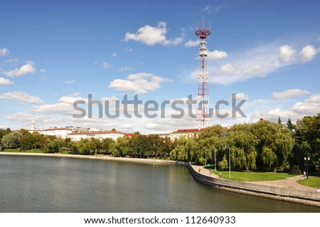 Telecommunication tower in Minsk, Belarus - stock photo