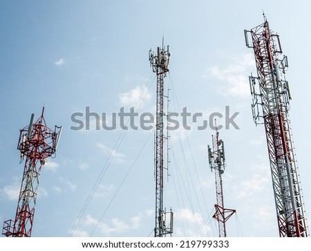 Telecommunication tower on the high mountain in Thailand. - stock photo