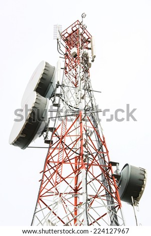 Telecommunication tower with antennas  - stock photo