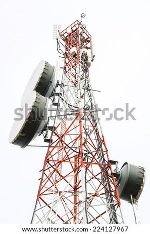 Telecommunication tower with antennas  - stock photo