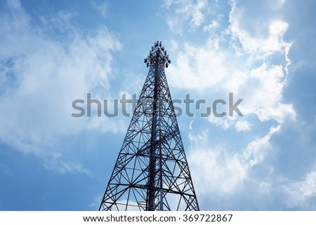 telecommunication tower with blue sky  - stock photo