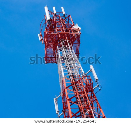 Telecommunications antenna for radio, television and telephony whit cloud and Blue sky - stock photo