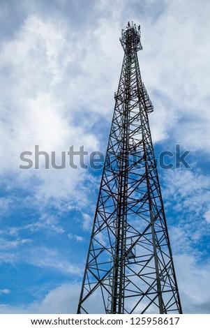 Telecommunications antenna mast height of telecommunications signaling. - stock photo
