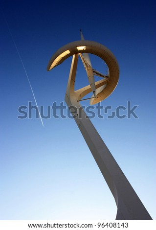 Telecommunications tower designed by Santiago Calatrava. Barcelona Olympic park, Montjuic hill - stock photo