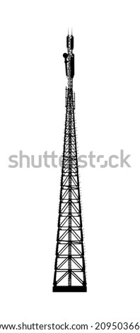 Telecommunications tower. Radio or mobile phone base station on white. - stock photo
