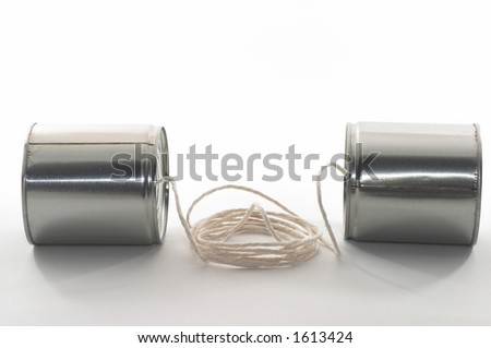 Telehones made out of tin cans and a string, analog phones - stock photo
