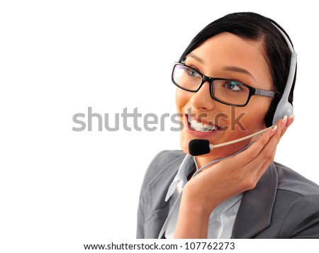 Telemarketing headset woman from call center smiling happy talking in hands free headset device. Business woman in suit isolated on white background. - stock photo