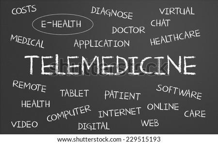 Telemedicine word cloud written on a chalkboard - stock photo