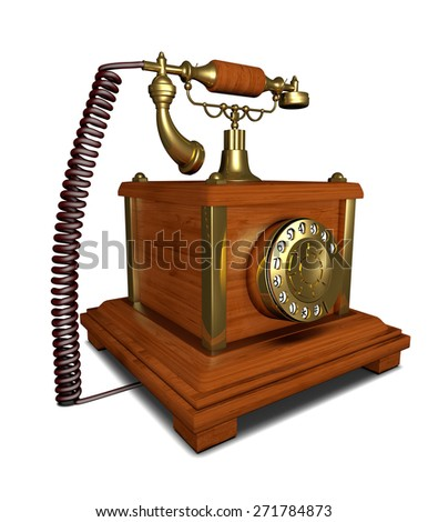telephone ancient made of wood with dial plate - stock photo