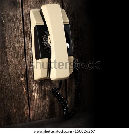 telephone and dark shadow  - stock photo