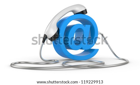 Telephone handset and  internet sign. illustration on white - contact 3d concept - stock photo