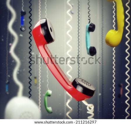 Telephone handsets - stock photo