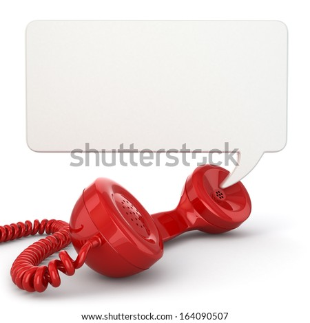 Telephone receiver and speech bubble. 3d - stock photo