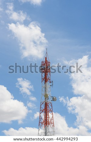 telephone signal pole,Antenna with sky background - stock photo