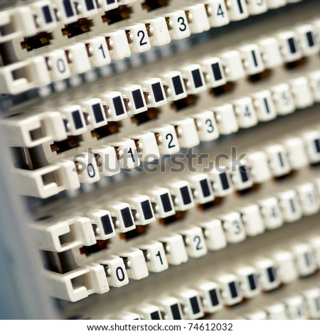 telephone switchboard panel - stock photo