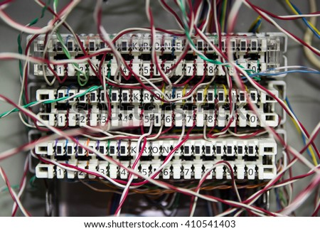 telephone switchboard panel with wires - stock photo