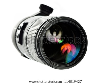 telephoto camera lens - stock photo