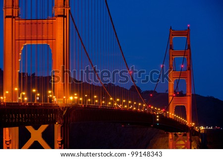 Telephoto view of San Francisco's Golden Gate Bridge at Twilight - stock photo