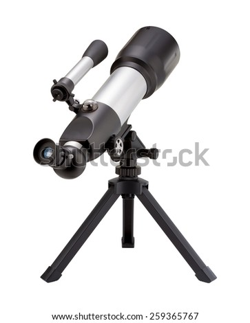 Telescope and Tripod isolated on white, with a clipping path. The image is in full focus, front to back. - stock photo
