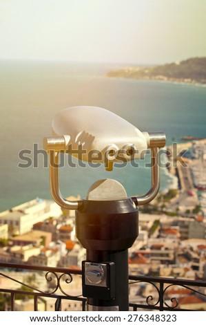 Telescope for sightseeing  - stock photo