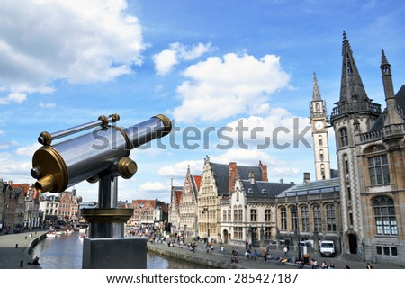Telescope in Gent (Belgium), view of the city, church, sky, clouds. - stock photo