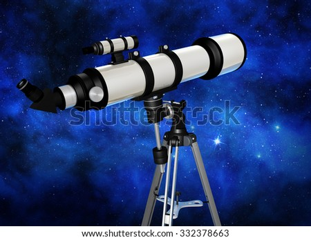 telescope looking at a starry night sky - stock photo