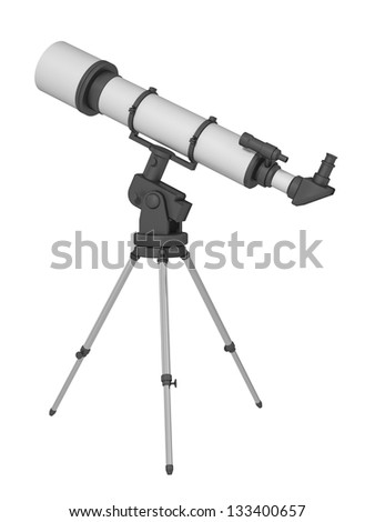 telescope on a white background - stock photo
