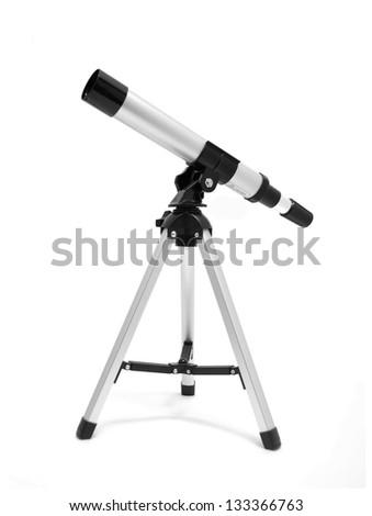Telescope on tripod over white - stock photo