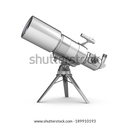 telescope over white - stock photo
