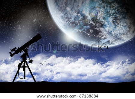 Telescope Under a space landscape - stock photo