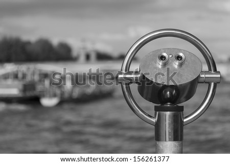 Telescopic viewing binoculars, Paris, Ile de France, France - stock photo