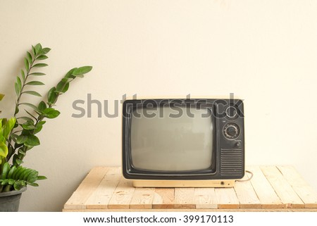 Television ancient in Vintage tone - stock photo