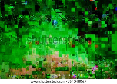 Television broadcast failure, digital cable tv signal fatal error glitch, lcd screen as abstract technology background - stock photo