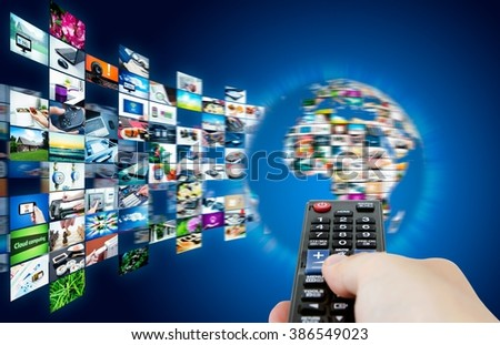 Television broadcast streaming multimedia. Earth globe abstract composition - stock photo